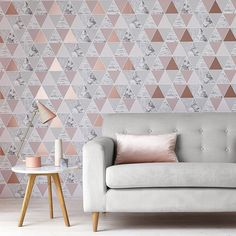 Rose Gold Home Decor Ideas.DIY decoration & design for bedroom, living room, etc.Best pink gold accents & accessories for your house. Living Room Grey, Living Room Decor, Bedroom Decor, Living Rooms, Geometric Wallpaper Home, Trendy Wallpaper, Textured Wallpaper, Colorful Wallpaper, Nature Wallpaper
