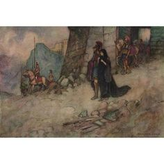 Works of Geoffrey Chaucer 1912 Criseyde leaving Troy Canvas Art - Warwick Goble (18 x 24)