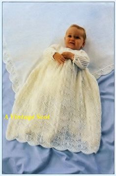 Baby Christening Gown / dress / robe and by avintagescot on Etsy/ preemie to 4 yrs./ KNITTED pattern