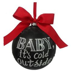 Sage & Co. 'Cold' Chalkboard Ornament ($4.20) ❤ liked on Polyvore featuring home, home decor, holiday decorations, christmas, xmas, decor, fillers, holiday, black and painted ornaments