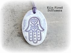 Hamsa Hand Lavender Essential Oil Diffuser by KilnFiredDiffusers Pure Essential Oils, Essential Oil Diffuser, Clay Jewelry, Jewellery, Aromatherapy Jewelry, Diffuser Jewelry, Clay Ornaments, Year Anniversary Gifts, Diffusers