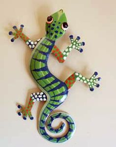 Metal Gecko lizard hand cut and painted.