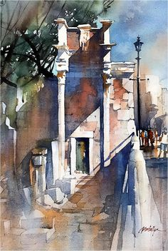Want to win this original watercolor painting by Thomas Schaller? Learn how you can enter for your chance to have this beautiful artwork hanging in your home. Girl Watercolor, Watercolor Sketch, Watercolor Artists, Watercolor Techniques, Watercolor Paintings, Watercolours, Watercolor Architecture, Watercolor Landscape, Art And Architecture