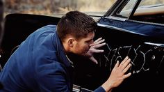 """(gif) """"Dean trying to rub demonic writing* off his baby. The Mark of Cain ain't gonna rub clean that easy, Dean…*Interesting that Abaddon scrawled the message (for Crowley) in Enochian, the language of angels. Who are you, Crowley?""""     Supernatural 9x16 """"Blade Runners"""""""