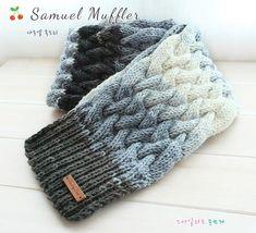 십자 꽈배기 무늬로 만든 사무엘 그라데이션 목도리입니다. 왼코 4코 교차뜨기 , 오른코 4코 교차뜨기만으... Crochet Shawl, Knit Crochet, Fingerless Gloves, Arm Warmers, Cowl, Stitch Patterns, Scarves, Knitting, Hats