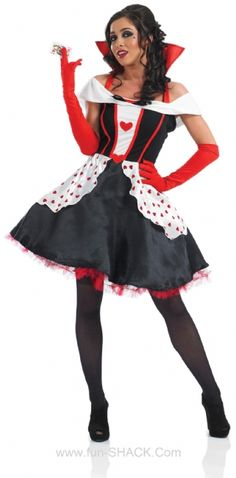 Longer Length Queen of Hearts Fancy Dress Costume Fun Shack