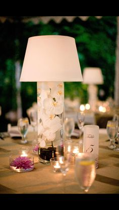 Wedding centerpieces. submerged orchid lamp by Perfect Planning, Portland Oregon Wedding Planning
