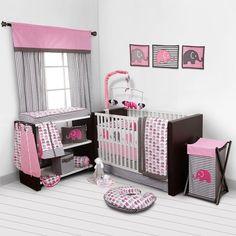 Baby Girl Bedroom Set Nursery Bedding Elephants Pink Grey 10 pc Crib Infant Room #Bacati