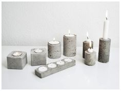 Industrial Vibes: the 2015 Decor Trend Everyone's Talking About Concrete Crafts, Concrete Projects, Concrete Pots, Concrete Design, Concrete Garden, Concrete Candle Holders, Diy Lampe, Beton Diy, Diy Candles