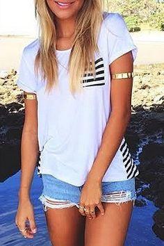 White Black Stripe Short Sleeve T-Shirt