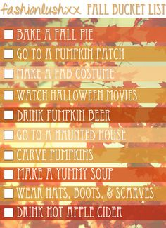 fall bucket list: everything but the pumpkin beer and haunted house