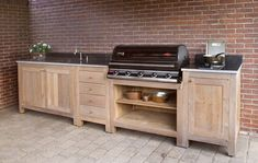 – DIY brick oven and grill tables Grill Bar, Grill Table, Diy Grill, Outdoor Bbq Kitchen, Patio Kitchen, Kitchen Decor, Outdoor Spaces, Outdoor Living, Outdoor Decor