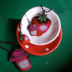 """Collection de bijoux """"fraises"""" La Marelle / Mlle Héloïse"""