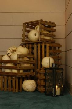 White pumpkins and lanterns.