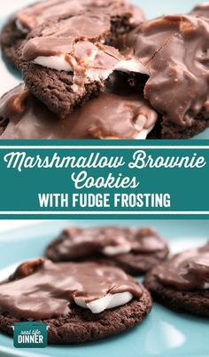 So dang good! Delicious fudge frosting on top of a brownie cookie with a marshmallow sandwiched in there. Oh Yeah! Your inner cookie monster just lost his mind!!! ~ http://reallifedinner.com