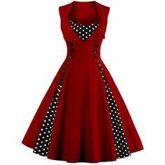 Polka Dot Retro Corset A Line Dress ($19) ❤ liked on Polyvore featuring dresses, retro corset, red a line dress, retro a line dress, red corset and polka dot a line dress