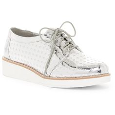 Fergalicious Everly Wedge Sneaker (110 BRL) ❤ liked on Polyvore featuring shoes, sneakers, silver, lace up wedge sneakers, silver sneakers, metallic silver sneakers, silver platform shoes and metallic platform shoes