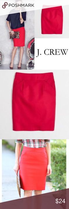 "J. Crew Red Pencil Skirt ✔️100% Cotton ✔️Back Zip ✔️Back Vent ✔️Length: 20.75"" ✔️No Holes, Stains or Damages J. Crew Skirts Pencil"
