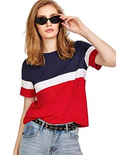 SweatyRocks Color Block Tee 2018 Summer New Arrival Round Neck Short Sleeve T-shirt Women Multicolor Athleisure Casual Top - multi,xs Latest Mens Fashion, Fashion News, Fashion Fashion, Fashion Women, Vintage Fashion, Casual Tops, Casual Wear, Latest T Shirt, Cut Shirts