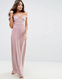 eefa80f00b53 ASOS Damen ASOS DESIGN – Hochwertiges Maxikleid mit Bardot-Ausschnitt und  Verstärkung –   2201479967186. Abendkleider  Asos Lange Kleider ...