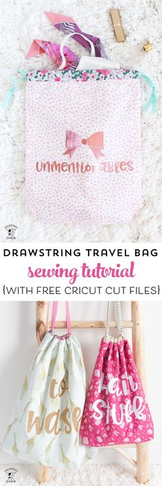 Free tutorial and Lined Drawstring Bag Sewing Pattern - how to sew a reversible drawstring bag and add cute sayings to the front! Includes free cricut cut file downloads #sewing #sewingpattern #drawstringbag #laundrybag #cricut #cricutmade ad