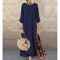Buy Fashion Women Casual Baggy Loose Half Sleeve Patchwork O Neck Beach Dress Floral Printed Bohemian Holiday Maxi Dresses Plus Size Dress Robe Femme at Wish - Shopping Made Fun Dress Plus Size, Plus Size Maxi Dresses, Long Sleeve Maxi, Maxi Dress With Sleeves, Half Sleeves, Cheap Maxi Dresses, Casual Dresses, Ladies Dresses, Floryday Dresses