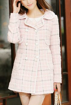 Coat - Urban Splendor Double Breasted Cloverleaf Lapel Plaid Coat in Pink Mode Outfits, Girly Outfits, Classy Outfits, Dress Outfits, Dresses, Chic Outfits, Summer Outfits, Formal Outfits, Office Outfits