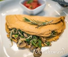 Chickpea Omelet with Mushrooms, Onions and Kale - ImPane Chickpea Omelette, Vegan Omelette, Healthy Vegetarian Breakfast, Vegan Vegetarian, Vegan Foods, Vegan Recipes, Cooking Recipes, Eat To Live Diet, Wow Recipe