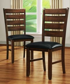 Another great find on #zulily! Dark Brown & Black Slat Back Dining Chair - Set of Two #zulilyfinds