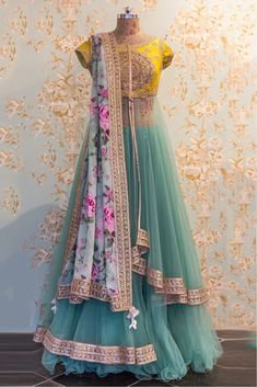 The Stylish And Elegant Lehenga Choli In Yellow,Teal,Green Colour Looks Stunning And Gorgeous With Trendy And Fashionable Fabric Looks Extremely Attractive And Can Add Charm To Any Occasion. Indian Wedding Outfits, Indian Outfits, Wedding Dresses, Indian Attire, Indian Wear, Pakistani Dresses, Indian Dresses, Saris, Hippy Chic