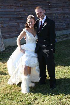 Furry boots under wedding dress