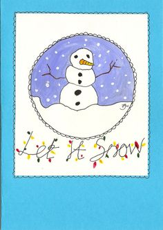 Hand Painted Snowman Christmas Card A5 by BubbleTrumpLtd on Etsy, $5.00