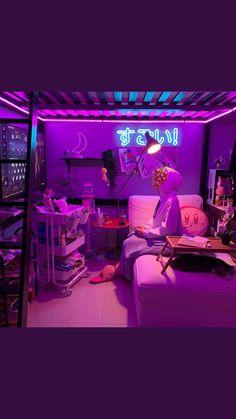 Cute Bedroom Ideas, Room Ideas Bedroom, Dream Rooms, Dream Bedroom, Gaming Room Setup, Kawaii Room, Game Room Design, Gamer Room, Aesthetic Room Decor