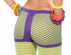 Club Candy Neon Fishnet Costume Boy Shorts Adult: Purple