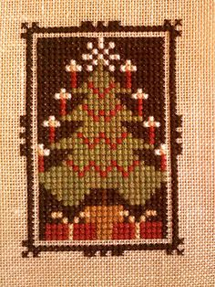 """Like the border details on this Prairie Schooler design, Autumn Comes Again, stitched by """"Along the Paths of Pins and Needles"""" Cross Stitch Boards, Cross Stitch Tree, Cross Stitch Embroidery, Cross Stitch Patterns, Cross Stitch Finishing, Chart Design, Xmas Ornaments, Christmas Cross, Christmas Projects"""