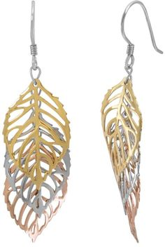 Turn over a new leaf with these Silver Classic drop earrings. Featuring dangling, open-worked leaves and a trio of metal tones, these earrings are a great way to freshen your look. Leaf Necklace, Drop Earrings, Gold View, New Leaf, 18k Rose Gold, Women Jewelry, Sterling Silver, Classic, Metal
