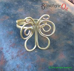 Adjustable Brass Butterfly Ring. Handmade Butterfly Ring, Sweet Wire Butterfly