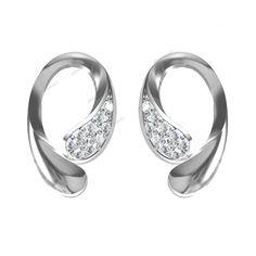 14K White Gold Plated Round Cut D/VVS1 Diamond New Design Fancy Stud Earrings…