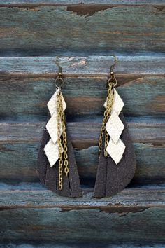 Handmade Leather Earrings from Thailand #86 - Earrings $16