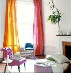 Mix and match curtains in fun colors like pink and orange.