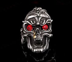 Badass Red Eyes Skull Ring