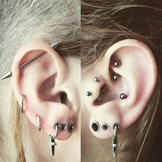 Just with plain jewellery. Mostly I like to wear big earrings in the streched lobes and sometimes I change the other ones too. But this set up is most comfortable ; Tragus Piercings, Lobe Piercing, Inner Conch Piercing, Cool Ear Piercings, Piercings For Girls, Piercing Tattoo, Cartilage Earrings, Gauges, Ear Jewelry