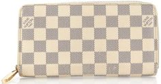 LOUIS VUITTON Authentic White Damier Azur Canvas Zippy Wallet