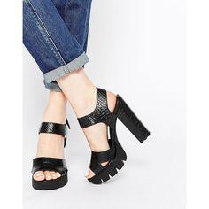 ASOS TELEPORT High Sandals (87 SGD) ❤ liked on Polyvore featuring shoes, sandals, blacksnake, crocs sandals, crocs shoes, vegan sandals, strappy sandals and vegan shoes