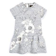 Finger Grey Floral Neoprene Dr: Finger in the Nose Grey Floral Neoprene Dress features short sleeves and a drop waist.#girlsdress #dress #kidsclothes