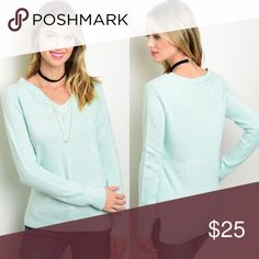🆕 Long Sleeve Mint V-Neck Sweater New with tags. Long sleeve basic mint sweater featuring a v-neckline and fitted silhouette. Also available in ivory listed separately.                                 🌸100% acrylic.                                                                    🌸Made in USA.                                                                   🌺PRICE IS FIRM UNLESS BUNDLED.                          ❌SORRY, NO TRADES. Boutique Sweaters V-Necks