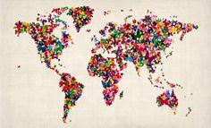 Wallpaper Butterflies Art Map of the World, AM979, Maps International
