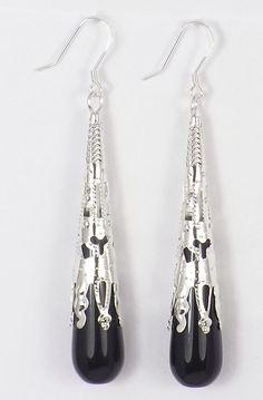 Art Deco 1920s Style Long Black Onyx & Filigree Earrings (Pierced or Clip On)