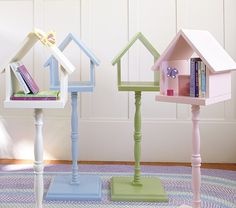 Birdhouse for book storage... want to make a couple without the stand to mount on the wall by my daughter's bunk bed