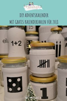 Advent calendar DIY idea made of glasses with free advent calendar numbers for you - Ideen Adventskalender basteln - Crafts Homemade Advent Calendars, Diy Advent Calendar, Wallpaper Rosa, Calendar Numbers, White Wall Paint, Farmhouse Style Decorating, Engagement Ring Cuts, Diy Art, Diy Gifts